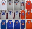 Discount 25 Derrick Rose Jersey Throwback White Orange Blue 7 Carmelo Anthony 6 Kristaps Porzingis 13 Joakim Noah Basketball Jerseys Sports