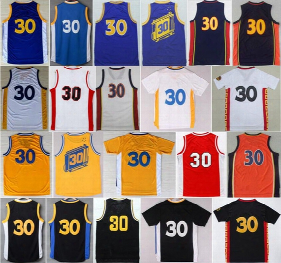Top Quality 30 Stephen Curry Throwback Chinese Basketball Jerseys Davidson Wildcats College Stephen Curry Jersey Blue White With Player Name