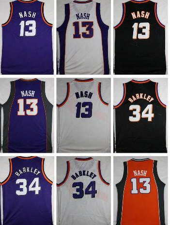 Top Quality Throwback Basketball Jerseys 34 Charles Barkley Jerseys 13 Steve Nash Jerseys Retro Purple White Black Stitched Sports Shirts