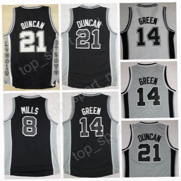 Top Stitched 8 Patty Mills Black White Gray Uniforms 14 Danny Green 21 Tim Duncan Basketball Jerseys For Sport Fans Fre Shipping
