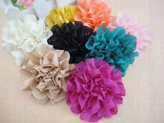 "Trial Order 3"" Eyelet Flowers Hair Clip Brooch Eyelet Fabric Flowers Chiffon Shabby Flower Clip 50pcs/lot Queenbaby"