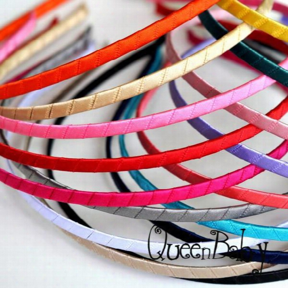 Trial Order Metal Hard Headbands Ribbon Covered Headbands 5mm Wide For Toddlers Children By Queenbaby 48pcs/lot