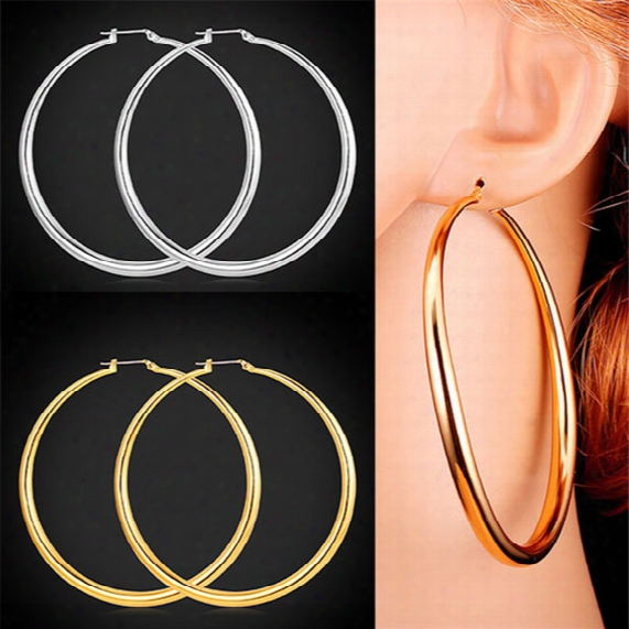 U7 Classic Simple Big Round Hoop Dangle Earrings 18k Gold/platinum Plated Basketball Wives Fashion Jewelry Gift For Women E6391