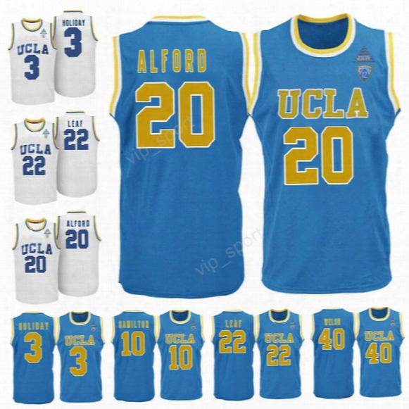 Ucla Bruins College 20 Bryce Alford Jersey Men Basketball 10 Isaac Hamilton 22 Tj Leaf Jerseys 3 Aaron Holiday 40 Thomas Welsh Blue White