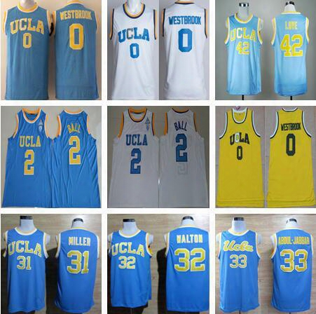 Ucla Bruins College Jerseys Men Basketball 0 Russell Westbrook Jersey 42 Kevin Love 2 Lonzo Ball Jersey All Stitched Blue White Yellow