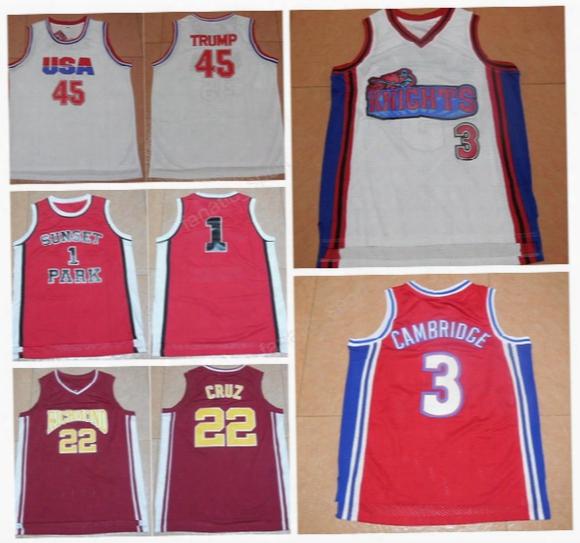 Usa Dream Team 45 Donald Trump Jersey Hollywood Richmond 22 Timo Cruz Movie Basketball Jerseys Sunset Park 1 Fredro Starr Shorty