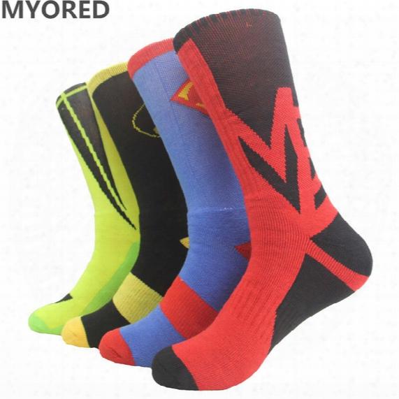 Usa Professional Elite Basketball Superman Batman Captain America Spiderman Long Knee Athletic Sport Socks Men Compression Thermal Socks