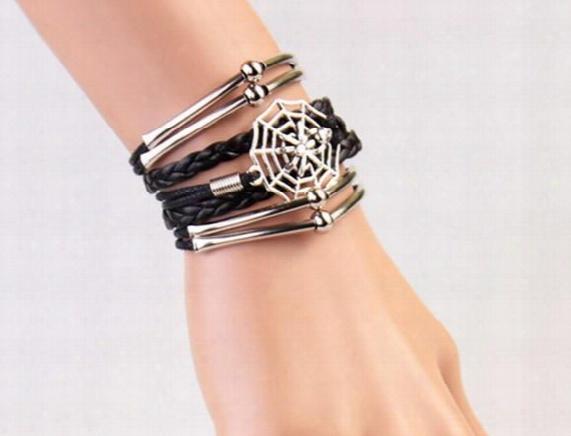 Vintage Leather Bracelets Unisex Weave Spider Net Bracelets Gifts For Lovers Hand Jewelry Korean Style