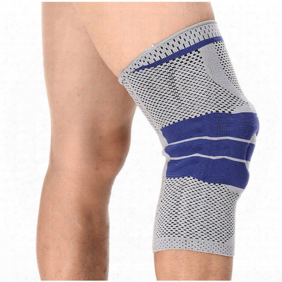 Wholesale- 1 Pc G Rey Elastic Knee Support Brace Kneepad Adjustable Patella Knee Pads Basketball Safety Guard Strap Protector Silica Gel