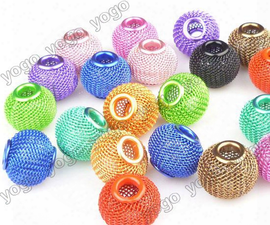Wholesale 100pc 16mm Mix Colors Loose Beads,lots Basketball Wives Earrings Mesh Spacer Beads Craft Findings Mb1204