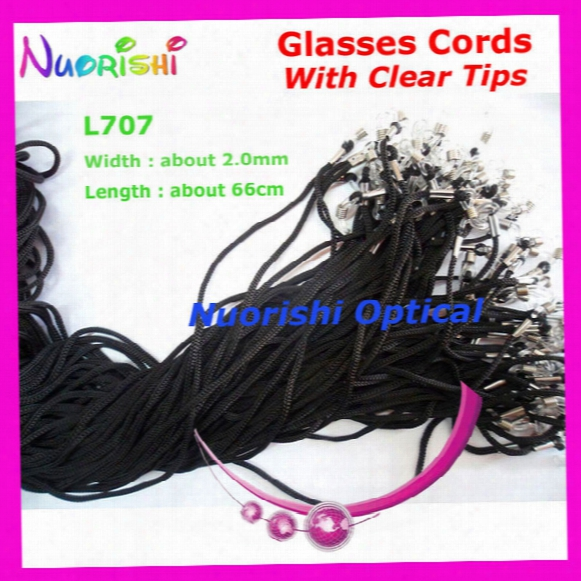 Wholesale-100pcs L707 Black Width 2.0mm Eyeglass Sunglass Polyester Neck String Cord Retainer Strap Eyewear Lanyard Holder With Clear Tips