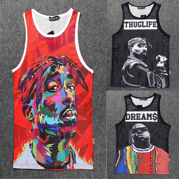 Wholesale-2015 New Fashion Men/womens 3d Vest Character Print Tupac 2pac/biggie Sleeveless Shirts Tank Top Summer Sports Basketball Jersey