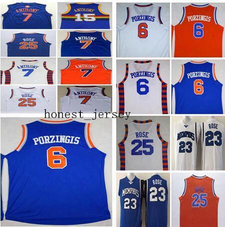 Wholesale #6 Kristaps Porzingis Jersey Mens 2017 New White Christmas Cheap Blue #7 Carmelo Anthony Orange College Derrick Basketball Jerseys