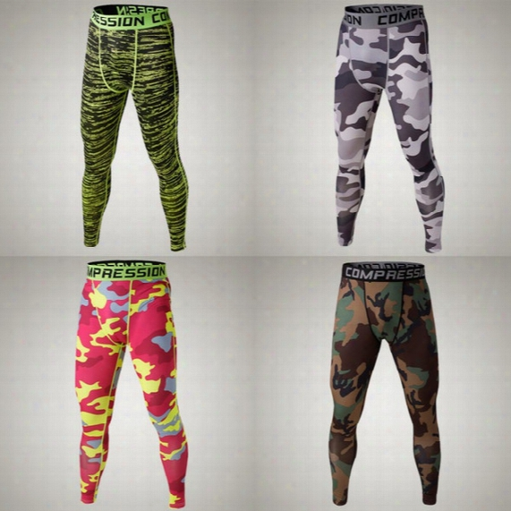Wholesale-camo Mens Compression Pants Sports Running Tights Basketball Gym Pants Bodybuilding Male Jogger Jogging Trousers Skinny Leggings