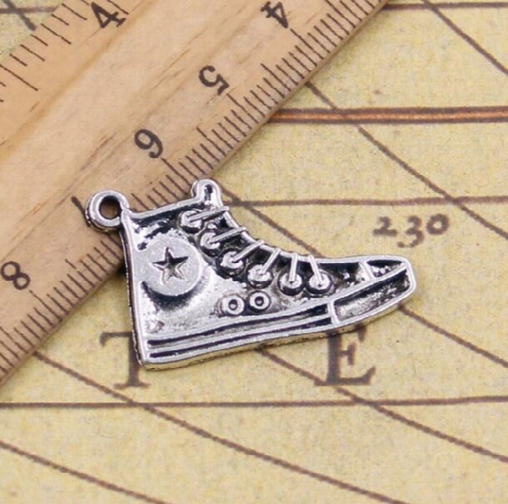 Wholesale- Charms Basketball Shoes 50pcs 30mm Tibetan Silver Plated Pendants Antique Jewelry Making Diy Handmade Craft