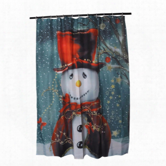 Wholesale- Christmas Snowman Shower Curtain Bath Curtain Sleepy Snowman Pattern Waterproof Bathroom Shower Curtain With 12 Hooks 150*180cm
