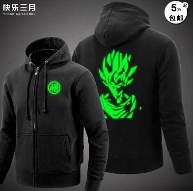 Wholesale-dragon Ball Son Goku Hoodie Dragonball Z Bdz Cosplay Costume Cotton Noctilucent Jjacket Coat God Coat