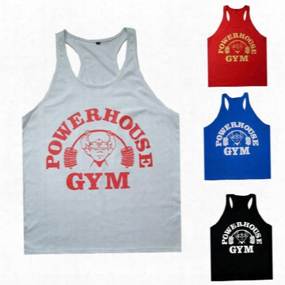 Wholesale-mens Gym Tank Tops Bodybuilding Equipment Fitness Brand Gym Singlets Men\\\'s Gym Tank Shirts Sports Clothes Muscle Tops