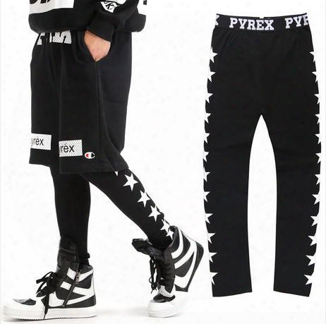 Wholesale-new 2016 Pyrex Of Men And Women In Europe And America Street Patterns Star Elastic Tights Leggings Couple Gv Hip-hop