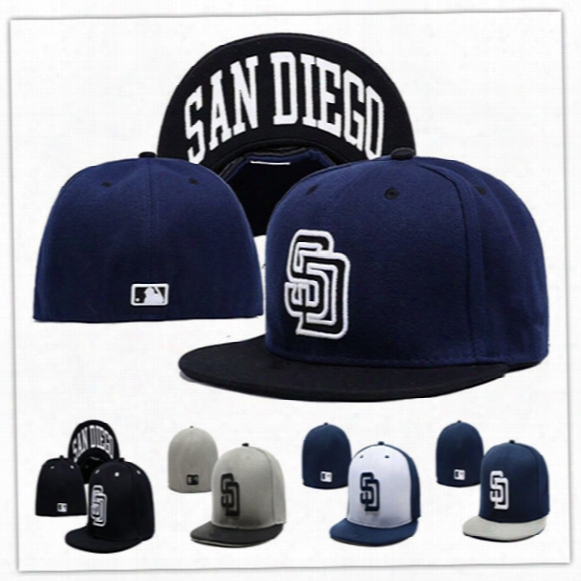 Wholesale Online Shopping San Diego Padres Street Fitted Fashion Hat Sd Letters Size Cap Men Women Retro Basketball Hip Pop