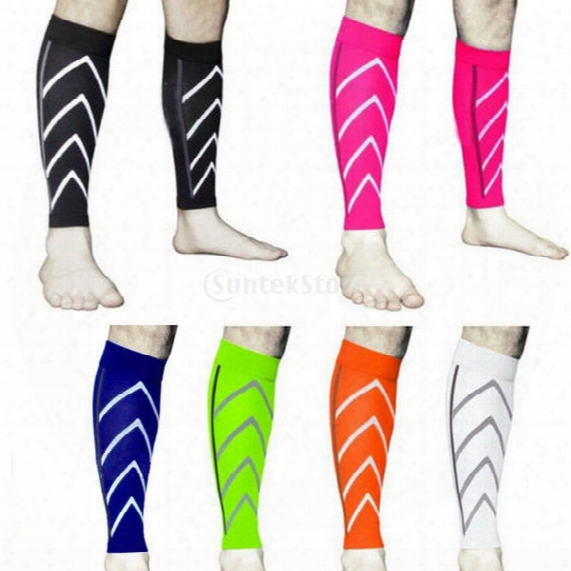 Wholesale- Pair Leg Sleeve Thigh Support Brace Basketball Sport Compression Calf Stretch