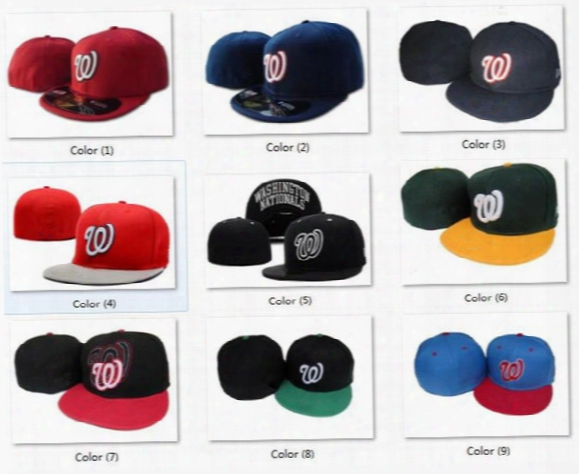 Wholesale Red Navy Blue Washington Nationals Street Fitted Fashion Hat W Letters Snapback Cap Men Women Basketball Hip Pop Caps