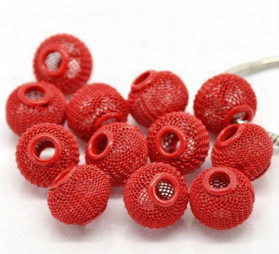 Wholesale-wholesals 30mm Gold/silver/black/red/pink/purple Mesh Ball Bead Basketball Wire Mesh Beads Fit Shamballa Hoops Earring 100pcs