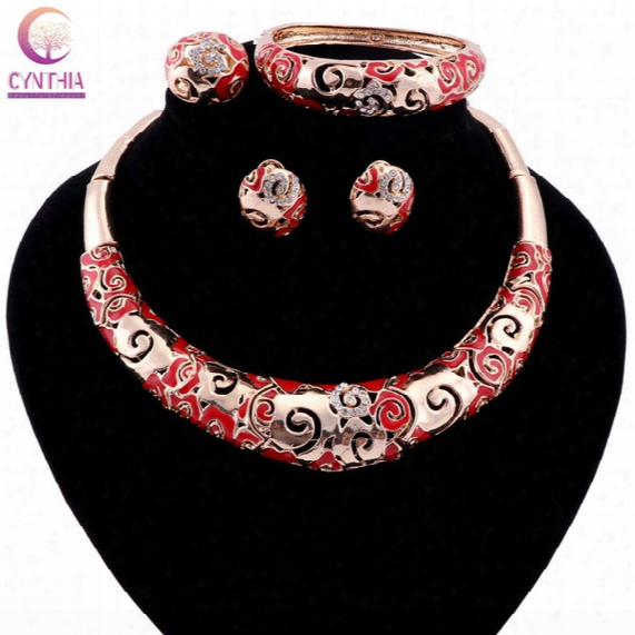 Women Chinese Style Gold Plated Statement Necklace Trendy Necklace With Earrings Crystal For Party Wedding Fashion Jewelry Sets 2017