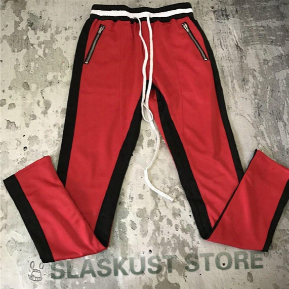 Zipped Ankle Fear Of God Track Pants 2017 High Quality Vintage Basketball Contrast Striped Jogger Free Shipping