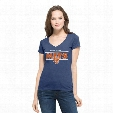 NEW YORK METS CLUTCH FLANKER V-NECK TOP - WOMENS