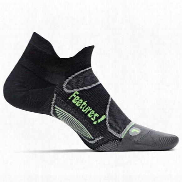 Feetures Elitelight Cushion No Show Tab Sock - Black Reflector