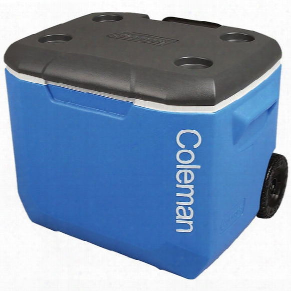 60 Quart Wheeled Cooler - Blue
