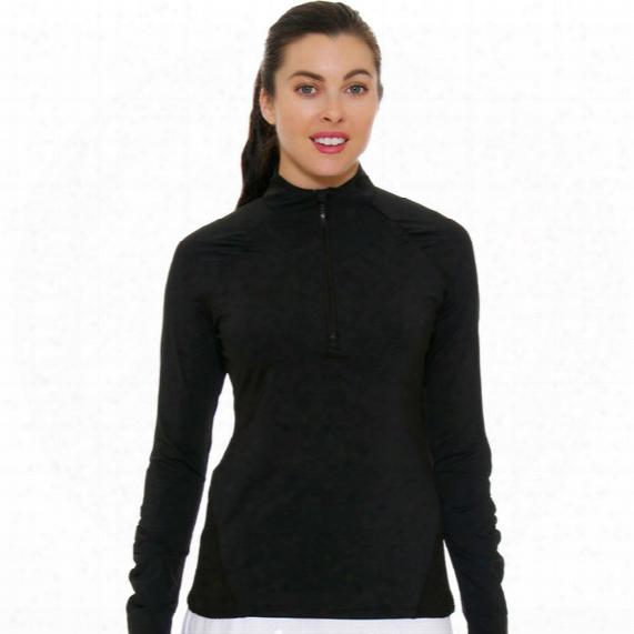 Half Zip Mesh Pullover - Womens