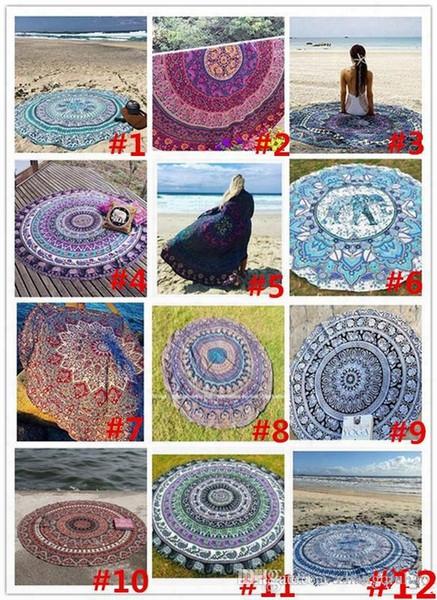 12colors Summer Sunbathe Round Beach Towel Large Microfiber Printed Yoga Towel With Tassel Serviette De Plage Toalla Circle Playa Shawl