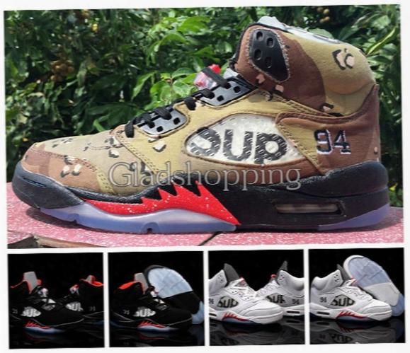 2015 Fashion Brand Sup Retro 5 Black White Camo Mens Basketball Shoes, Cheap New Retros 5s V Sneakers Good Quality Us 8-13