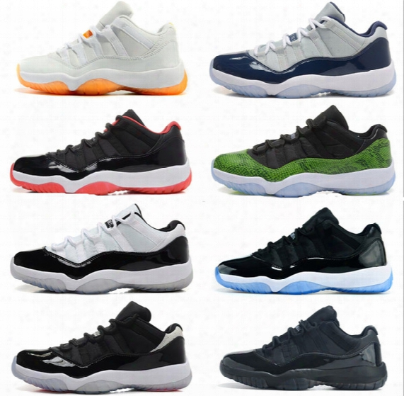 2015 New Retro 11 Low Basketball Shoes Bred Georgetown Space Jam Citrus Gs Basketball Sneakers Women Men Low Cut Athletics Boots Retro