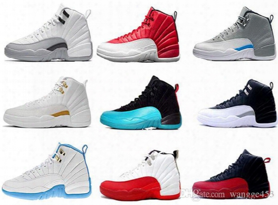 2016 Air Retro 12 Wool Men Basketball Shoes 12s Blue Suede Sneakers Black Nylon Athletics Retro 12 Discount Shoes Barons Sports Shoes