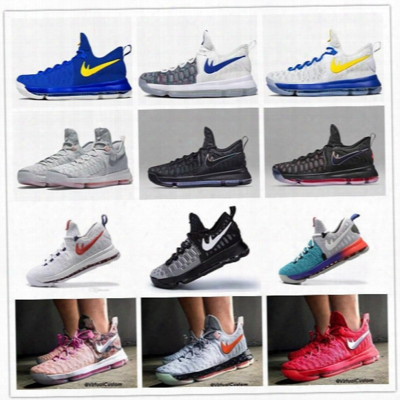 2016 Hot Sale Kd 9 Emns Basketball Shoes Kd9 Oreo Grey Wolf Kevin Durant 9s Men's Training Sports Sneakers Warriors Home Us Size 7-12
