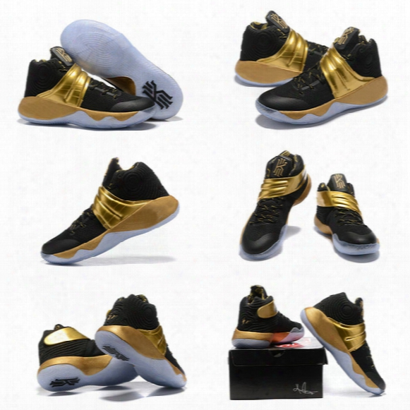 2016 Men Kyrie 2 Navy Gold Finals Pe Basketball Shoes Sports Sneakers Free Shipping Drop Shipping
