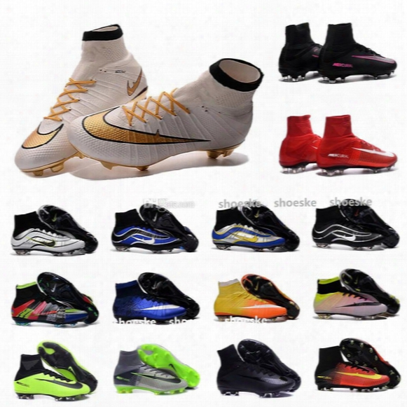 2016 Mercurial Superfly V Fg Football Soccer Shoes Boots Cr7 Cleats Mercurial Superfly 100% Original Golden Blue High Ankle Soccer Cleats