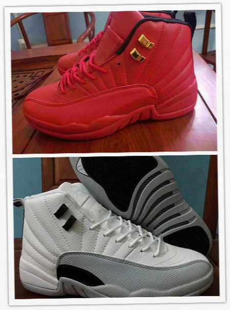2016 New High Quality Air Retro 12 Gs Barons White Grey Nylon All Red Men Basketball Shoes Retro 12s Women Sneakers 5 36-47