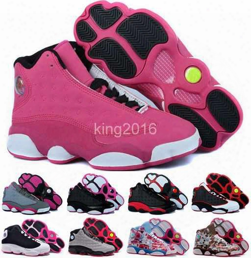 2016 New Retro 13 Xiii Basketball Shoes For Women,high Quality Womens Air Dan Retros 13s Athletic Sport Sneakers Trainers Shoe Red Flower
