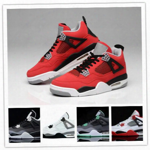 2016 Wholesale Top Quality Air Retro 4s White Cement Bred Fire Red Retro 4 Men Women Basketball Shoes Sneakers Sports Size 36-47