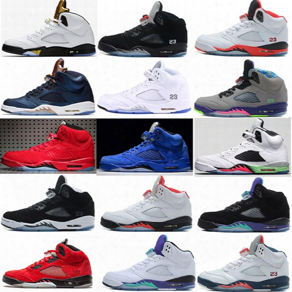 2017 Air Retro 5 V Olympic Og Metallic Gold Tongue Man Basketball Shoes Black Metallic Red Blue Suede Fire Red Sport Sneakers