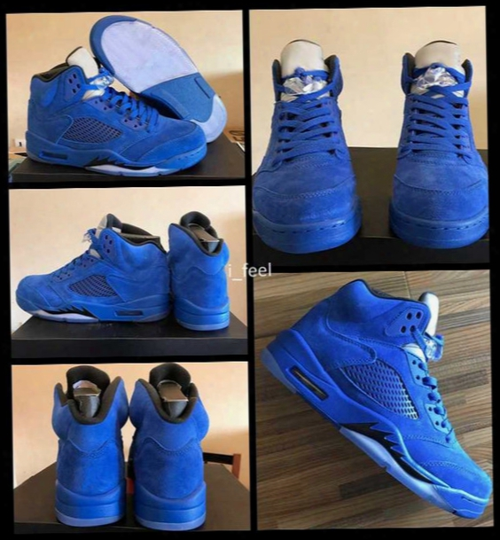2017 Air Retro 5 V Raging Bulls Blue Suede Mens Basketball Shoes Top Quality Retros 5s Bull Basket Ball Sports Sneakers With Box