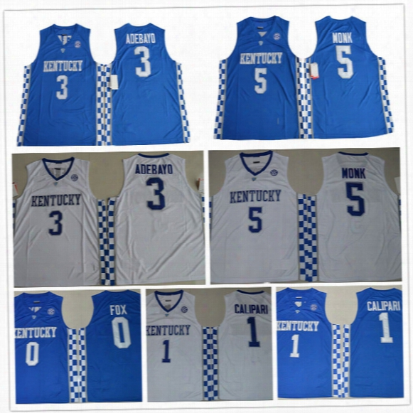 2017 Kentucky Wildcats College Basketball Jerseys 5 Malik Monk 3 Edrice Adebayo 1 Coach John Calipari 0 Deaaron Fox University Jersey