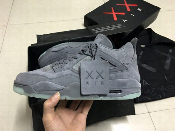 2017 Limited Kaws X Retro 4 Iv Cool Grey White Glow Mens Basketball Shoes Men 4s Sports Sneakers High Quality With Shoes Box