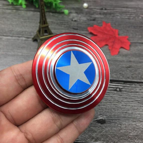 2017 Luxury Fidget Speelgoed Hand Sspinner Metalen Vinger Stress Spinner Captain America Shield