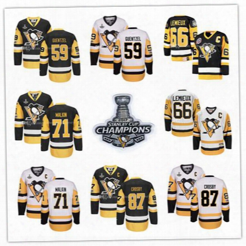 2017 Men's Pittsburgh Penguins Jersey Mario Lemieux Sidney Crosby Jake Guentzel Evgeni Malkin Stanley Cup Final Bound Ice Hockey Jersey