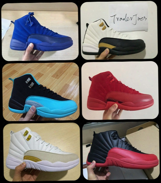 2017 Mens Air Retro 12 Red Flu Game Chinese New Year Taxi Gamma Blue Basketball Shoes Sneakers For Men Outdoor Sports Shoes Size Us8-us13